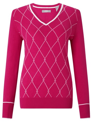 Callaway V Neck Tubular Jacquard Sweater
