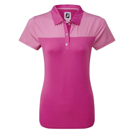 FootJoy Womens Lisle Shirt with Dot Print Yoke